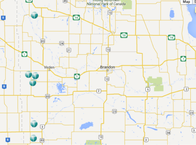 The location of Trinidad's rigs in Manitoba.