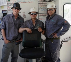 Rig Manager Steve Stewart (far left) with fellow crew members from Rig 42.