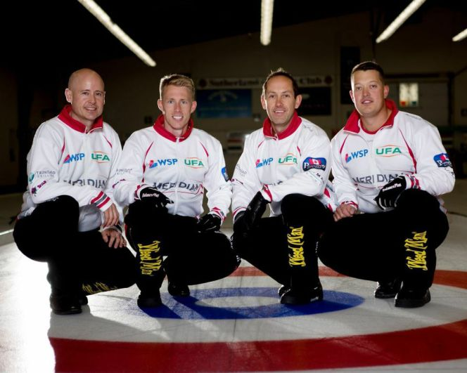 Team Koe sporting the Trinidad Drilling logo on their right arms. From left to right: Kevin Koe (skip), Marc Kennedy (third), Brent Laing (second), Ben Hebert (lead).
