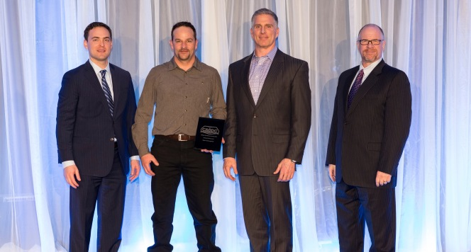 Trinidad Drilling's Shaun VanKoughnett receives the CAODC Safety Excellence Award.