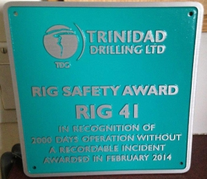 Trinidad Rig 41 safety award