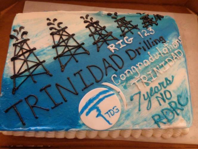 Trinidad celebrates 7 years no incidents cake Rig 123