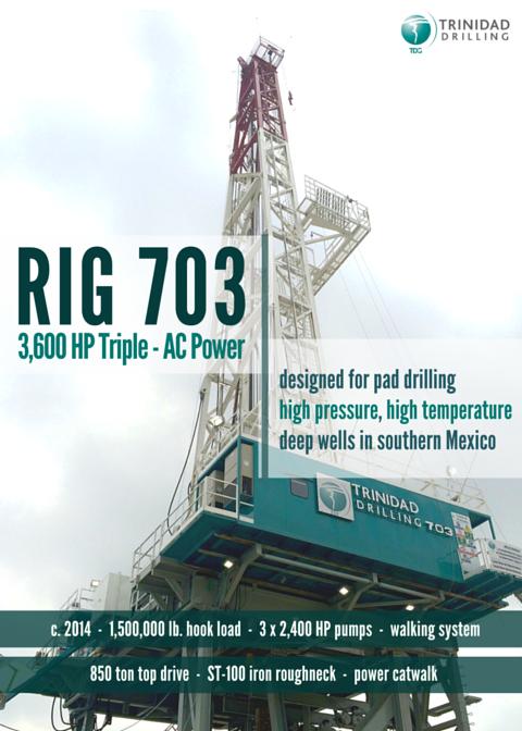 Trinidad Drilling Rig 703 3600 HP AC Triple Rig Specs