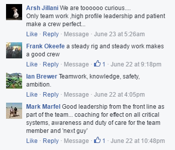 What makes a great crew - Facebook responses