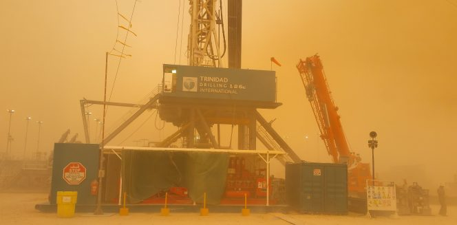 Sandblasting winds at Trinidad Rig 126 in Saudi Arabia